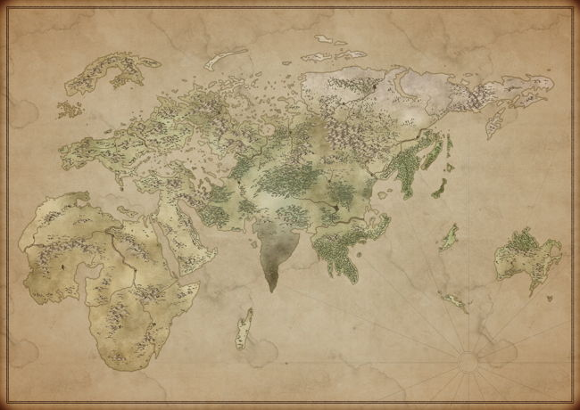 Alt-earth fantasy world map