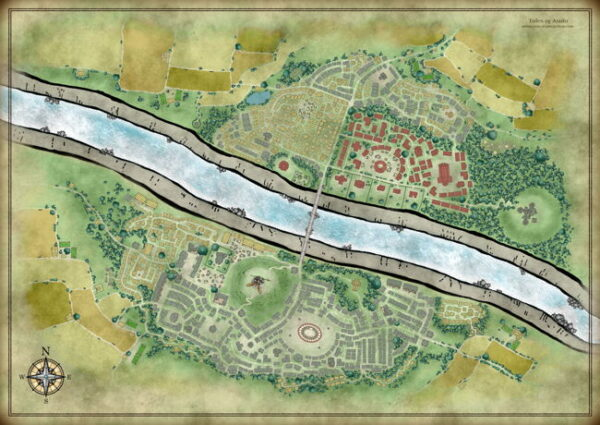 City map of Umana without labels